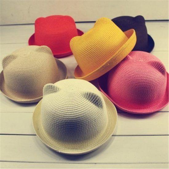 Children-Sun-Hats-Kids-Baby-Hat-Summer-Style-Children-Beach-Sun-Cap-Cute-Cat-Ears-Solid